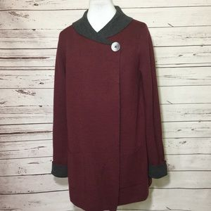 Jones New York Burgundy Sweater Cardigan
